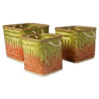 Surya Naturita Vaych Decorative Basket Set in Green/Orange
