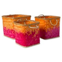 Surya Naturita Vaych Decorative Basket Set in Orange/Pink