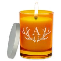 Carved Solutions Gem Collection Unscented Antler Initial Soy Wax Glass Jar Candle in Topaz