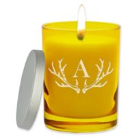 Carved Solutions Gem Collection Unscented Antler Initial Soy Wax Glass Jar Candle in Citrine