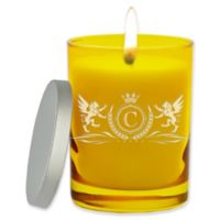 Carved Solutions Gem Collection Unscented Winged Lions Soy Wax Glass Jar Candle in Citrine