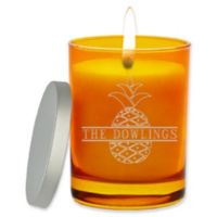 Carved Solutions Gem Collection Unscented Split Pineapple Soy Wax Glass Jar Candle in Topaz