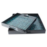 Surya Bevery Decorative Trays in Black/Blue (Set of 2)