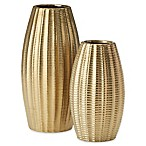 Madison Park Bowdin 2-Piece Ceramic Vase Set in Gold