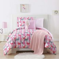 My World Llama Twin XL Comforter Set in Pink/Grey
