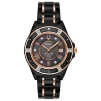 Bulova Ladies' 37mm Marine Star Diamond Watch in Rose-Goldtone Stainless Steel/Black Ceramic