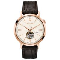 Bulova Men's 41mm Classic Automatic Watch in Rose-Goldtone Stainless Steel with Brown Leather Strap
