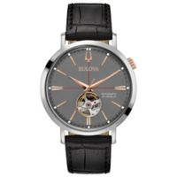 Bulova Men's 41mm Classic Automatic Watch in Stainless Steel with Black Leather Strap