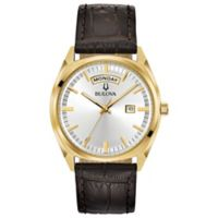Bulova Men's 39mm Classic Dress Watch in Goldtone Stainless Steel with Brown Leather Strap