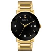 Bulova Men's 42mm Diamond Watch in Goldtone Stainless Steel with Black Dial