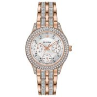 Bulova Ladies' 33mm Swarovski® Crystal Watch in Rose-Goldtone Stainless Steel