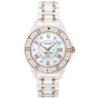 Bulova Ladies' 37mm Marine Star Diamond Watch in Rose-Goldtone Stainless Steel/White Ceramic