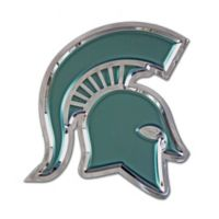 Michigan State University Medium Spartan Helmet Wall Art in Green/Chrome