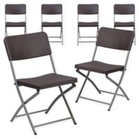 Flash Furniture Rattan Plastic Folding Chairs in Brown (Set of 6)