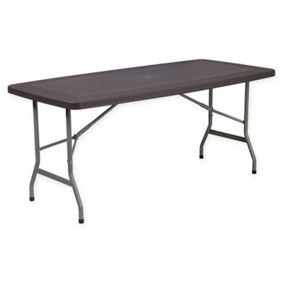 Merveilleux Flash Furniture Rattan Plastic Folding Table In Brown