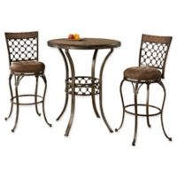 Hillsdale Lannis 3-Piece Bar Height Bistro Dining Set in Brown
