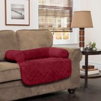 Innovative Textile Solutions Small Microfiber Waterproof Chair Protector with Bolster in Burgundy
