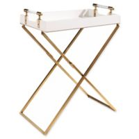 Abbyson Living Carson Tray End Table in White/Gold