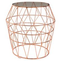 Abbyson Living® Brielle Glass Top Stainless Steel End Table in Rose Gold