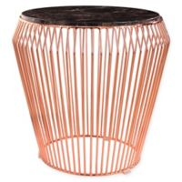 Abbyson Living Termoli Marble and Steel End Table in Rose Gold