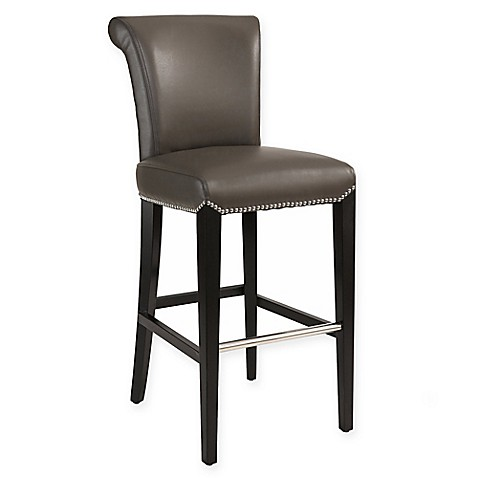 Abbyson Living 174 Aubrey Leather Bar Stool In Grey Bed