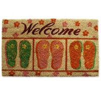 Nature by Geo Crafts Sandals Welcome 18-Inch x 30-Inch Multicolor Door Mat