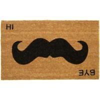 Nature by Geo Crafts Mustache Hi Bye 18-Inch x 30-Inch Multicolor Door Mat