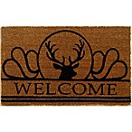 Nature by Geo Crafts Moose 18-Inch x 30-Inch Door Mat in Natural/Black