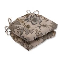 Pillow Perfect Jacobean Chair Pads in Grey (Set of 2)