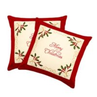"""Merry Christmas"" Square Throw Pillow Covers in Red (Set of 2)"