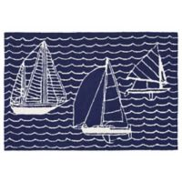 Liora Manne Sails 1-Foot 8-Inch x 2-Foot 6-Inch Indoor/Outdoor Accent Rug in Navy