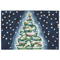 Liora Manne Midnight Christmas Tree 2-Foot x 3-Foot Indoor/Outdoor Accent Rug in Navy