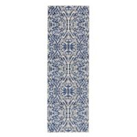 Feizy Manfred Damask 2-Foot 7-Inch x 8-Foot Runner in Royal