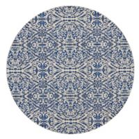 Feizy Manfred Damask 8-Foot 9-Inch Round Area Rug in Royal