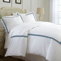 Italian Hotel Collection Satin Band Queen Duvet Cover in Blue