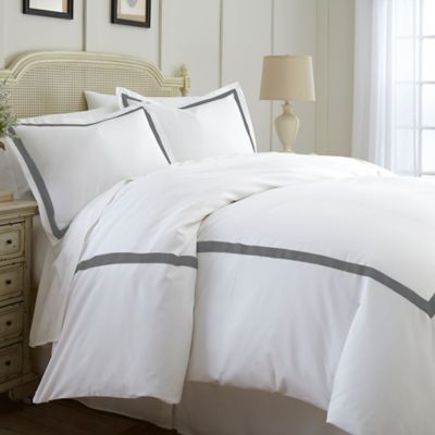 italian hotel collection satin band king duvet cover in grey