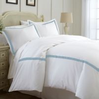 Italian Hotel Collection Satin Band Queen Duvet Cover In Light Blue