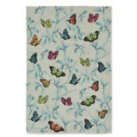 Liora Manne Butterflies on Tree 5-Foot x 7-Foot 6-Inch Indoor/Outdoor Area Rug in Green