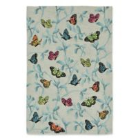 Liora Manne Butterflies on Tree 7-Foot 6-Inch x 9-Foot 6-Inch Indoor/Outdoor Area Rug in Green