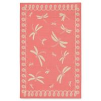 Liora Manne Dragonfly 3-Foot 3-Inch x 4-Foot 11-Inch Indoor/Outdoor Accent Rug in Coral