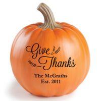 """Give Thanks"" Small Resin Pumpkin"