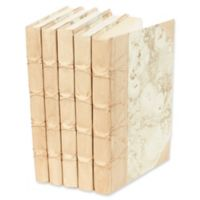 Leather Books Marbled Parchment Re-bound Decorative Books in Light Tan (Set of 5)