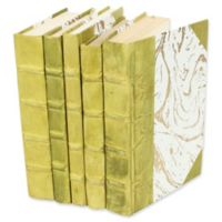 Leather Books Marbled Parchment Re-bound Decorative Books in Green (Set of 5)