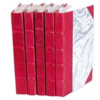 Leather Books Marbled Parchment Re-bound Decorative Books in Pink (Set of 5)