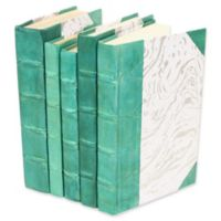 Leather Books Marbled Parchment Re-bound Decorative Books in Turquoise (Set of 5)