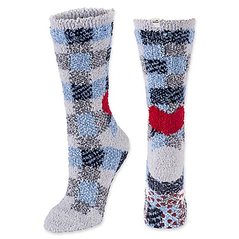 image of ED Ellen DeGeneres Heart Cozy Socks with Grippers