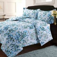 Tribeca Living Lyon Leaves King Quilt Set in Blue