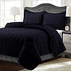 Tribeca Living Lyon Solid Queen Quilt Set in Black