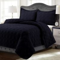 Tribeca Living Lyon Solid Twin Quilt Set in Black