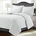 Tribeca Living Lyon Solid King Quilt Set in White